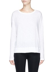 Vince Slub Pima Cotton Long Sleeve T Shirt White