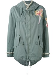 Amen Floral Embroidered Hooded Jacket Women Cotton Viscose Metal Glass 40 Green