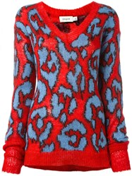 Coach Leopard Intarsia Jumper Red