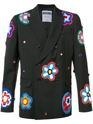 Moschino Floral Applique Blazer Men Virgin Wool 48 Black