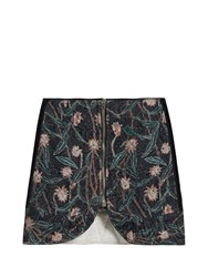 Isabel Marant Prickly Floral Print Quilted Cotton Skirt Black Print