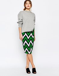 Traffic People Pencil Skirt In Chevron Print Black