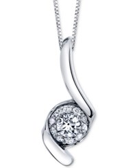 Sirena Diamond Halo Swirl 18 Pendant Necklace 1 Ct. T.W. In 14K White Gold