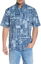 Kahala Ki'i Pokahu Relaxed Fit Half Placket Shirt Navy