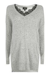 Topshop Maternity Lace Insert Knitted Jumper Grey Marl