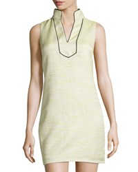 Sail To Sable Shimmery Tweed Shift Dress Lime Green
