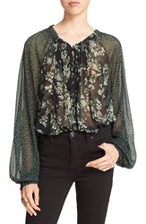 Free People Women's 'Hendrix' Print Peasant Blouse Green