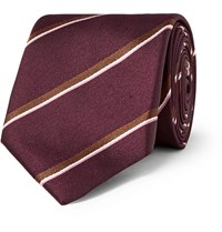 Dunhill 7Cm Striped Mulberry Silk Tie Burgundy