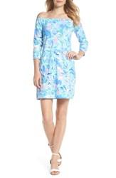 Lilly Pulitzer Laurana Off The Shoulder Shift Dress Bennet Blue Celestial Seas
