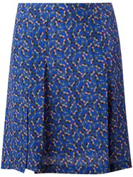 Cacharel Pleat Detail Mini Skirt Blue