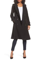 London Fog Long Double Breasted Trench Coat Black