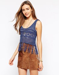 Amara Reya Crochet Cropped Vest With Fringe Hem Darkdenim