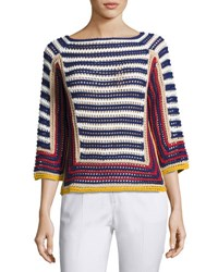 Red Valentino 3 4 Sleeve Striped Crocheted Cotton Sweater Multi Pattern