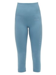 Falke Shape High Rise Cropped Jersey Leggings Blue