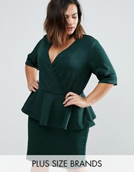 Junarose Plus Jila Dress With Peplum Pine Grove Green