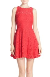 Women's Bb Dakota 'Renley' Lace Fit And Flare Dress Glow