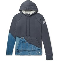 Greg Lauren Panelled Distressed Loopback Cotton Jersey And Denim Hoodie Blue