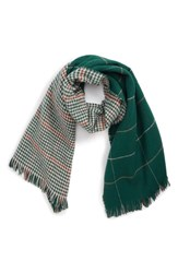 Bp. Reversible Houndstooth And Grid Scarf Green Multi