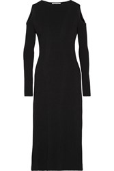 Barbara Casasola Cold Shoulder Ribbed Stretch Knit Midi Dress Black