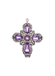 Lc Collection Diamond Amethyst Fretwork Cross Pendant Metallic