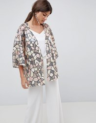 Traffic People Sequin Kimono One Colour Clear