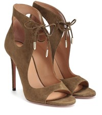 Aquazzura Sonam 105 Suede Ankle Boots Green