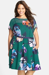 Taylor Dresses Floral Print Belted Chiffon And Scuba Knit Dress Plus Size Teal Navy