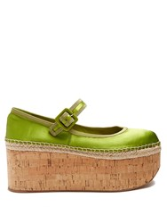 Miu Miu Mary Jane Satin Flatform Pumps Green