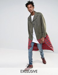 Reclaimed Vintage Military Jacket With Tartan Underlay Khaki Green