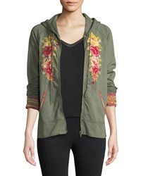 Johnny Was Tilly Embroidered Zip Front Hoodie Green