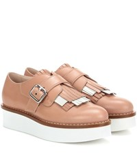 Tod's Leather Platform Oxford Shoes Brown