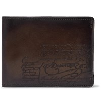 Berluti Essentiel Scritto Leather Billfold Wallet Brown