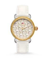 Michele Exotic Creatures Elephant Diamond Amber Topaz 18K Goldplated Stainless Steel And Lizard Strap Wa White Gold