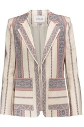Derek Lam 10 Crosby By Printed Cotton And Linen Blend Blazer Multi