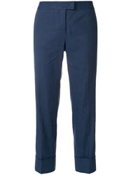 Fabiana Filippi Cropped Tailored Trousers Linen Flax Cotton Spandex Elastane Polyester Blue