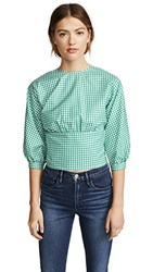 Mds Stripes Open Back Top Green Check