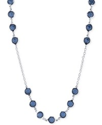 2028 Silver Tone Blue Crystal Long Length Necklace