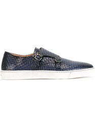 Santoni Woven Leather Monk Shoes Blue