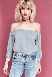 Truly Madly Deeply Heidi Terry Off The Shoulder Top Grey