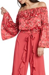 Willow And Clay Embroidered Off The Shoulder Top Coral