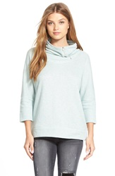 Caslon Drape Neck Pullover Regular And Petite Heather Blue Raindrop