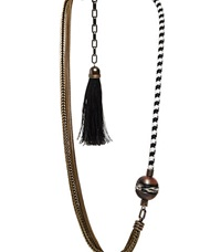 Lanvin Long Braided Chain Necklace Brass