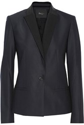 Maje Textured Leather Trimmed Linen Twill Blazer Blue