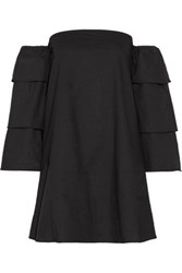 W118 By Walter Baker Scarlett Off The Shoulder Cotton Poplin Mini Dress Black
