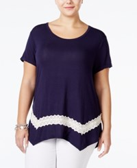 Eyeshadow Plus Size Lace Trim Swing T Shirt Moonlight