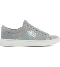Dune Egypt Leather Trainers Pale Grey