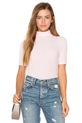 Three Dots Short Sleeve Turtleneck Top Pink