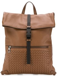 Bottega Veneta Intrecciato Detailed Backpack Brown