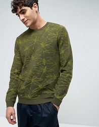 Asos Crew Neck Jumper With All Over Dragonfly Camo Design Green