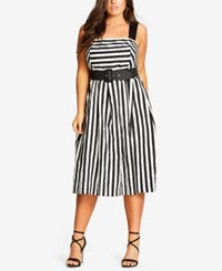 City Chic Trendy Plus Size Belted Striped Dress Ivory
